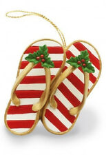 Hawaiian FESTIVE SLIPPERS CHRISTMAS ORNAMENT New NIB Hawaii  Flip Flops Slippahs