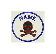 "Skull Custom Embroidered Name Tag, Circle Patch, badge 3.30"" Iron on or Sew on"