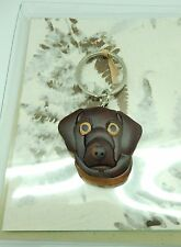 Key Ring Dog Face--Wood Brown--comes with a handmade greeting card