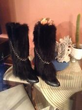 GORGEOUSE just beautiful    black fox NATURAL FUR   WOMEN BOOTS SZ 8