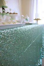 "6ft Table 90""x132"" Mint Sparkly Sequin Tablecloth for Wedding"