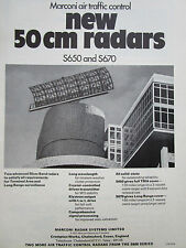 6/1970 PUB MARCONI AIR TRAFFIC CONTROL SYSTEMS 50 CM RADAR S650 S670 ORIGINAL AD