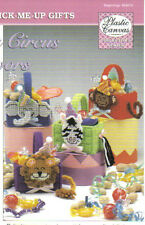 Smiling Circus Favors ~  plastic canvas pattern ~ Animal Baskets to make