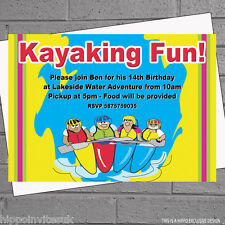 Personalised Kayaking Canoe Boating Celebration Birthday Party Invitations x 12