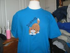NEW  SCAREDY CAT EMBROIDERED T-SHIRT PURRFECT GIFT