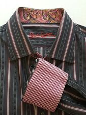 Robert Graham M L Flip Cuff Shirt Grey Purple Stripes Paisley Houndstooth