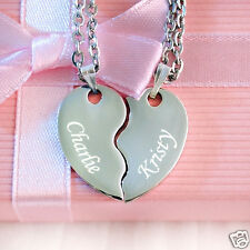 Personalised Engraved Split Heart Pendant with Necklace | Valentine's Day Gift