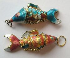 VINTAGE Chinese Enamel Articulated KOI FISH Enamel Charm Pendant LOT