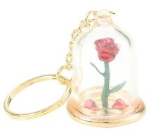 Disney BEAUTY AND THE BEAST ENCHANTED ROSE DOME KEYCHAIN Officially Licensed NEW