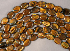 "GOLDEN YELLOW TIGER EYE 14X10MM OVAL BEADS 15.5"" STR TIGEREYE TIGER'S EYE"