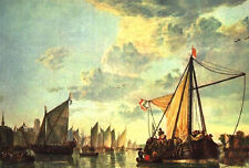 Art Oil painting seascape - The Maas at Dordrecht with huge sail boats canvas