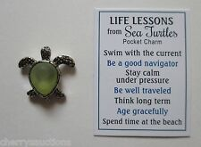 p2 1x Green LIFE LESSONS FROM SEA TURTLE pocket token charm ganz travel thinker