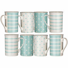 Set Of 8 Pale Blue Mugs Spots/Stripes Dotted Porcelain Tea Coffee Drinks Mug