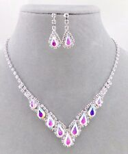 Crystal and AB Rhinestone Necklace Set Silver Fashion Jewelry NEW