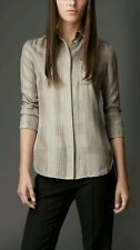 NWT 550$ Burberry London Gray  silk polka dot check shirt Blouse size 40 US 6
