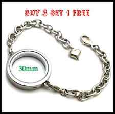 30mm Silver PLAIN Round Living Memory Locket Bracelet For Floating Charms