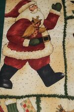 A WOODLAND COUNTRY CHRISTMAS WITH SANTA VTG GERMAN QUILTED WALLHANGING OWL BUNNY