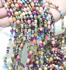 """5x6mm Natural Multicolor Oval Rice Freshwater Pearl Gemstone Loose Beads 15""""AAA"""
