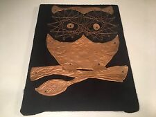 Vintage Copper Wire Art Owl On Black Felt Retro Folk Art Wall Hanging Decor