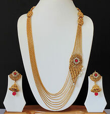 Ethnic Indian Long Necklace Jewelry Bollywood Earrings Gold Plated Chain Set I66