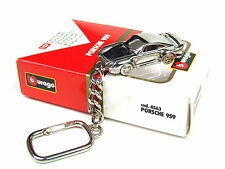 Burago Porsche 959 Extremely rare Collectible chrome Plated Keyring 1:87
