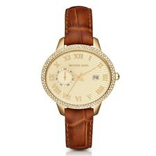 Michael Kors Women's Whitley Glitz Amber Embossed Croco Leather Watch MK2428