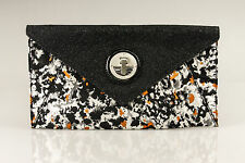 MIMCO ILLUMINATED Clutch Leather Black Orange BNWT RRP$249 Large Bag Pouch