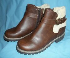 WOMEN'S BOOTS MOUNTAIN SOLE, SIZE 6  1/2 M. BROWN WITH FUR TOP/ ANKLE  ZIPPER