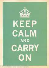 Postcard: Keep Calm And Carry On (British Government Poster) (Teal) (2014)