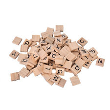 New 100 Wooden Alphabet Scrabble Tiles Black Letters & Numbers For Crafts Wood h