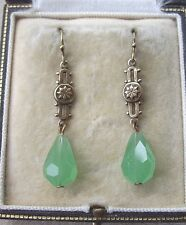 Fine Vintage Art Deco Frosted Green Crystal Drop Earrings