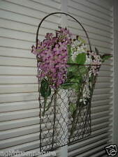 RUSTIC CHICKEN WIRE WALL BASKET PRIMITIVE COLONIAL AMERICANA FLORAL SUPPLY