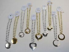 Lot of 120 Beads w/Pendant Necklace & Earring Sets ~ Shiny Gold & Silver Tones