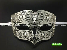 Silver Metal Male Diamond Design Laser Cut Venetian Masquerade Filigree Mask Men