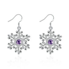 Purple Snowflakes Silver Dangle Drop Earrings Diamond Wedding Jewelry for Women