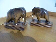 COPPIA di mozzafiato Stile Vintage Art Deco in legno intagliati a mano elefante libro termina