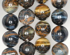 16MM BLUE TIGER EYE GEMSTONE GRADE AB HAWK EYE ROUND LOOSE BEADS 7.5""