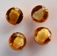 VINTAGE LARGE GLASS BUTTONS TAN BROWN GIVRE in BRASS SETTING 20mm