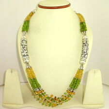 EXCLUSIVE NATURAL CITRINE, PERIDOT GEMSTONE ANTIQUE BEAUTIFUL NECKLACE 122 GRAMS