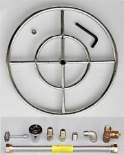"18"" Stainless Steel FIRE PIT BURNER RING KIT  Natural gas Fireglass Gaslogs"