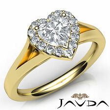 Heart Cut Halo Pave Set Diamond Engagement Ring GIA F VVS2 18k Yellow Gold 0.7Ct