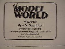 """A VINTAGE MODEL AIRCRAFT PLAN MW 3280 RYANS DAUGHTER 52"""" SPORT ELECTRIC POWER"""