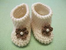 Baby Girl Shoes/Booties/Boots Cream Crochet 0-6 months