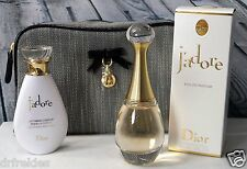 New Dior J'Adore 3 pc Gift Set - Eau de Parfum, Body Milk & Tweed Pouch
