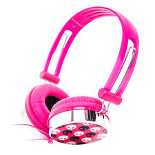 SKULL PATTERN OVER THE HEAD BOYS KIDS CHILDRENS HEADPHONES MP3 LAPTOP TV CD PINK
