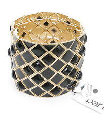 "Bar III - Black Square Beads on 2"" High Gorgeous Stretch Fashion Bangle Bracelet"