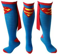 Superman Socks Knee High with CAPE Attached LICENSED PRODUCT DC Comics ~ New