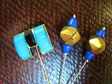 EPINGLES à CHAPEAU anciennes PÂTE de VERRE ART DECO LOT de 3 EPINGLES