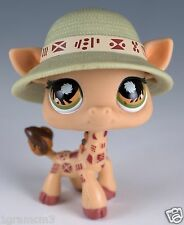 Littlest Pet Shop Giraffe #902 Brown With Orange and Green Eyes Plus Hat