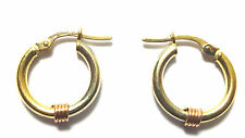9ct Multi Colour Gold Bali Style Hoop Earrings with Coil Design            25113